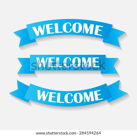 Set of Welcome Ribbon Vector Illustration EPS10