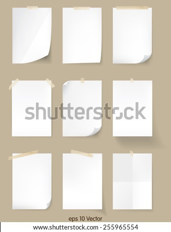 Set of White A4 size paper sheet, Vector - stock vector