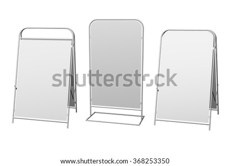 Set of white advertising vertical stand on white background. - stock vector