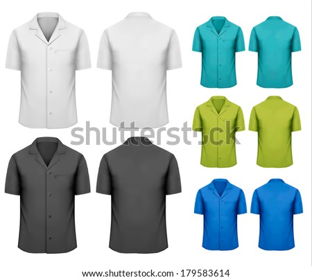 Set of white and black and colorful work clothes. Vector  - stock vector
