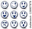 Set of white atypical smileys with blue eyes, expressing different feelings. - stock vector