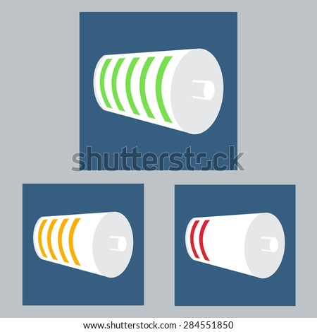 Set of White Battery Charge Status. Full, Half, Empty Level Indicator. Red, Yellow, Red Status. Vector Illustration - stock vector