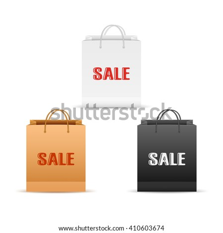 Set of white, black and brown paper shopping bags with inscriptions sale isolated on white background, illustration. - stock vector