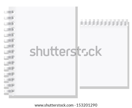 set of white blank notebook vector illustration isolated on background - stock vector