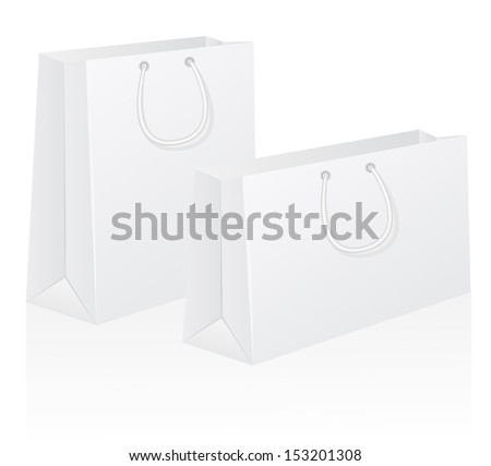 set of white blank paper shoping bag vector illustration isolated on background