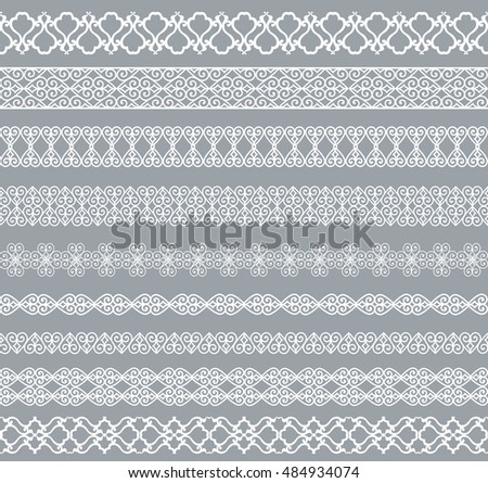 Set of white borders isolated on a gray background