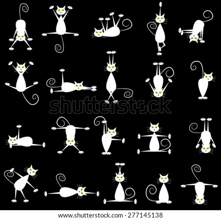 Set of white cats doing yoga and gymnastics. - stock vector