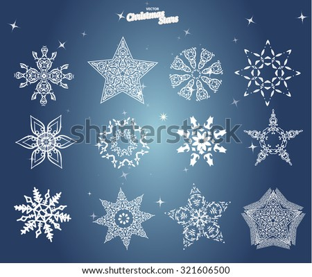 Set of white christmas star isolated on blue background
