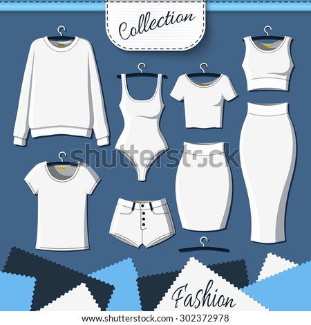 Set of white clothes to create design on dark  background. Sweatshirt and T-shirt. T-shirt and shorts. Swimsuit. Suit with skirt. Template clothing. Vector mock up - stock vector