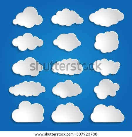 set of white clouds on a blue sky background - stock vector
