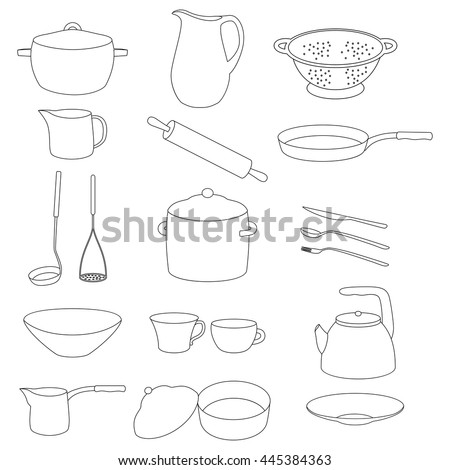 Set of white crockery with a black outline. Kitchen utensil. Templates for web. on a white background. Vector.