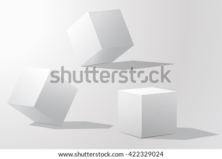Set of white cubes in different projections. Geometric surfac.  Rotate the cube. Isolated objects on a white background. White cube. Vector illustrations. - stock vector