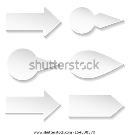set of white different paper arrows - stock vector