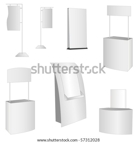 set of 7 white display. vector illustration - stock vector