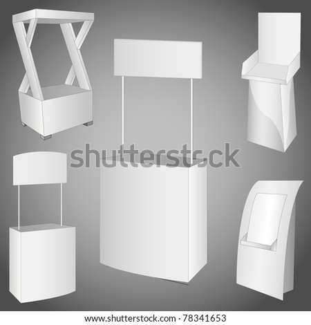 set of 5 white display. vector illustration