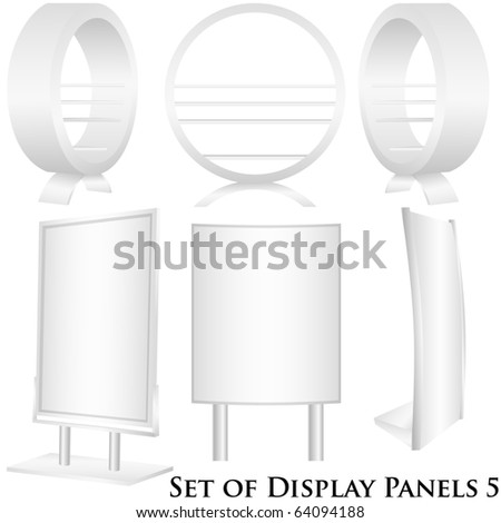 Set of 6 white display vectors - stock vector