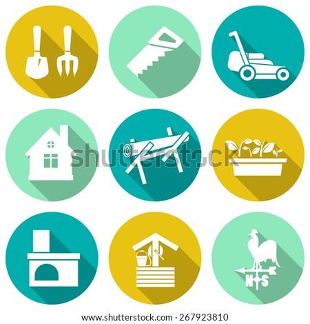 Set of white farming icons. Vector illustration - stock vector