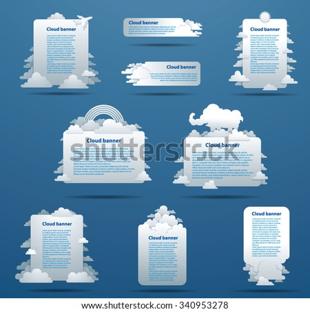 Set of white flat Banners with flat clouds, vector - stock vector