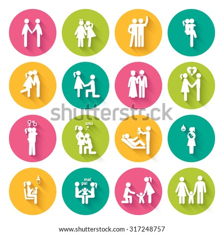 Set of 16 white flat icons illustrating different relationships between people in society and family in bright multi-colored circles with slanting shadows