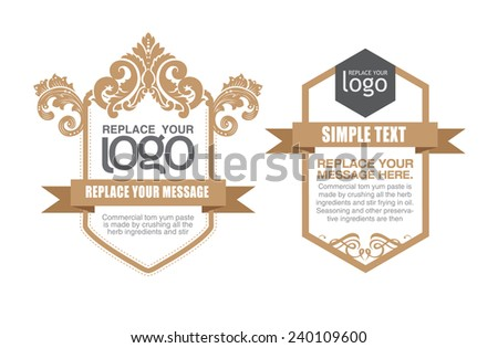 set of white floral frames with crowns isolated on gold damask. - stock vector