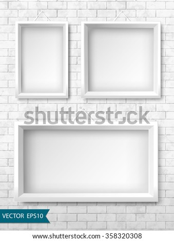 Set of white frames on a brick wall for your design. Vector, EPS10. - stock vector