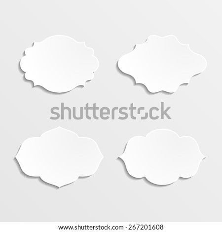 Set of white frames on a gray background. Vector illustration.  - stock vector