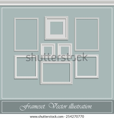 Set of white frames on the wall light. Vector illustration. - stock vector