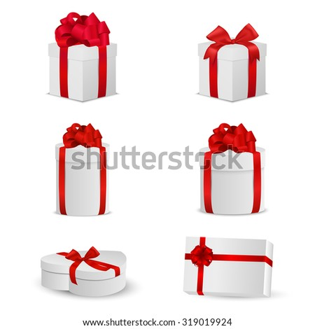 Set of white gift boxes with red bows and ribbons. Vector EPS10 illustration. - stock vector