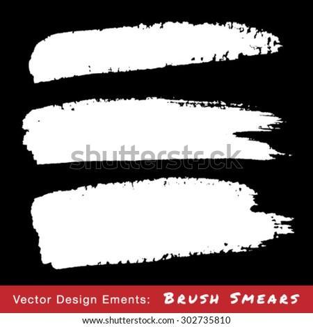 Set of White Hand Drawn Grunge Brush Smears, vector illustration  - stock vector