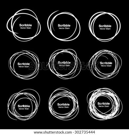 Set of 9 White Hand Drawn Scribble Circles, vector design elements  - stock vector