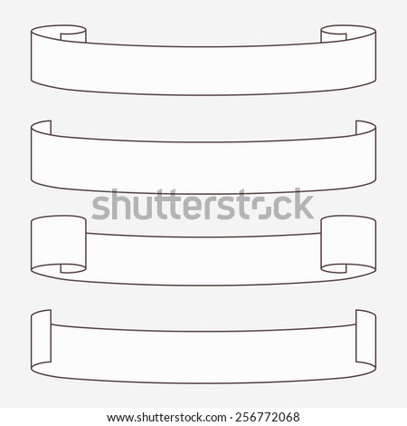 Set of white horizontal scrolls. Vector illustration. - stock vector