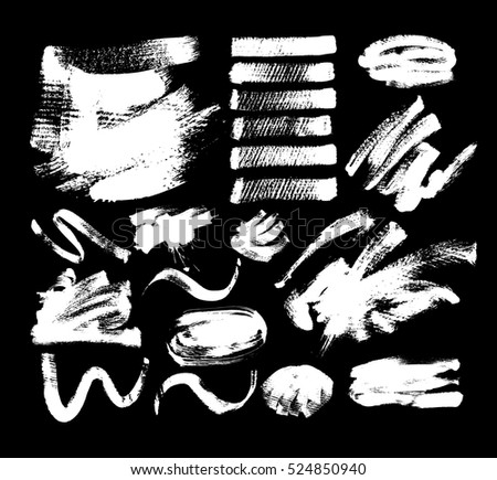 set of 20 white ink hand drawing brushes collection isolated on black background for your design, brush strokes element vector illustration