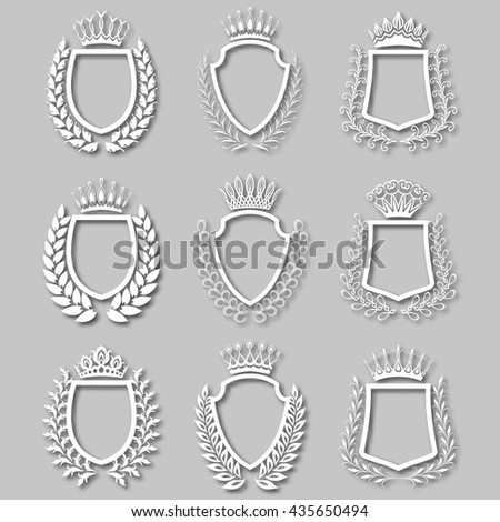 Set of white laurel wreaths, shields, crowns with shadows. Royal heraldic emblem, icon, symbol, label, badges, blazons, logo for web, page design. Floral elements in vintage style. Illustration EPS 10 - stock vector
