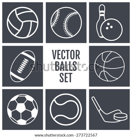 Set of white lines icons sports balls on a gray background . Vector illustration  silhouettes.