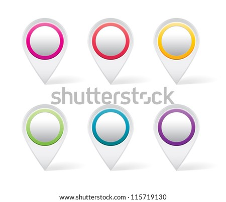 Set of white map markers with colorful details - stock vector