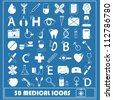Set of 50 white medical Icon isolated on blue background, vector illustration, graphic design editable for your design. Logo symbols - stock photo