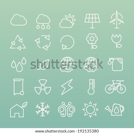 Set of White Minimal Simple Ecology Thin Line Icons on Color Background. - stock vector