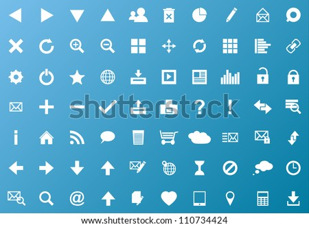 Set of white navigation web icons on blue background - stock vector