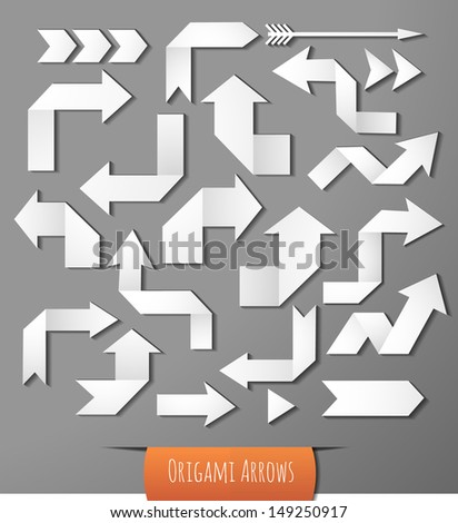 Set of white origami arrows with realistic shadows for your design. Vector illustration.