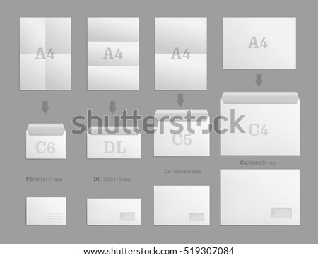 set of white paper envelopes for business document or letter vector blank mockups white