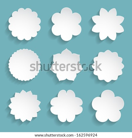 set of white paper floral frames - stock vector