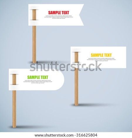 Set of white paper label on wooden stick - stock vector