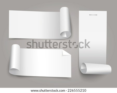 Set of white paper roll banners for business background. - stock vector