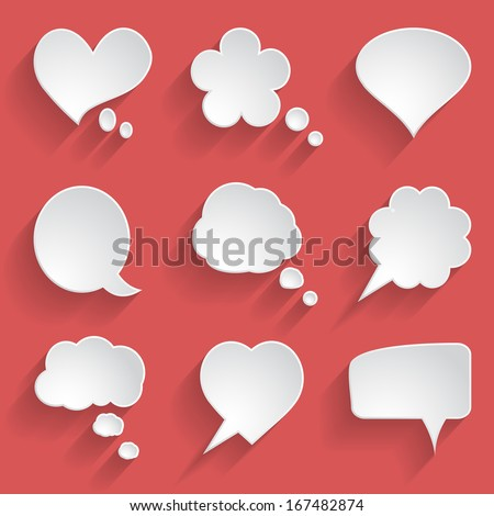 set of white paper speech bubbles - stock vector
