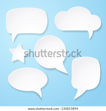 Set of white paper speech bubbles on blue background. Vector abstract illustration - stock vector