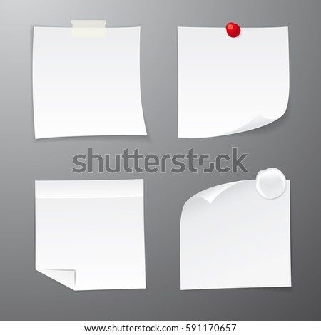 Set of white paper sticker. Four realistic sticky notes. Various blank sheets with curled corners. Vector illustration