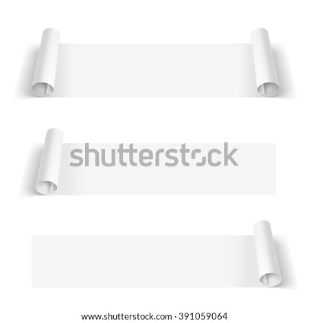 Set of White Paper Stickers isolated on a White Background - stock vector