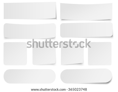 Set of white paper stickers on white background - stock vector