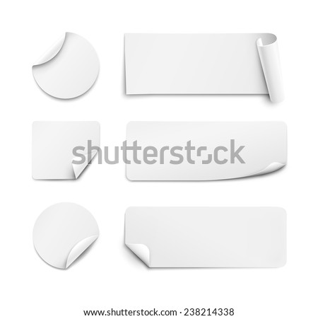 Set of white paper stickers on white background. Round, square, rectangular. Vector illustration - stock vector