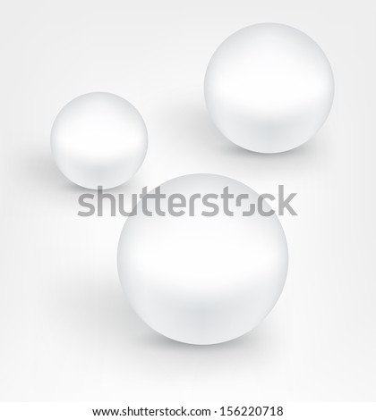 Set of white pearl balls with shadows. Vector.   - stock vector